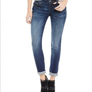 Miss me embroidered cuffed skinny jeans